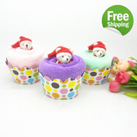 2015 New Arrival So Cute Novelty 5pcs New Mix Color Polka Dot Wrapper Animal Bear Favor Cupcake Cup Cake Towels