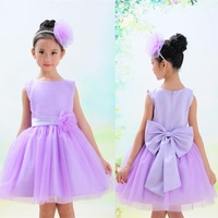 new 2015 fashion spring summer dress girl sleeveless 3D bow knot decor princess party toddler baby evening dress