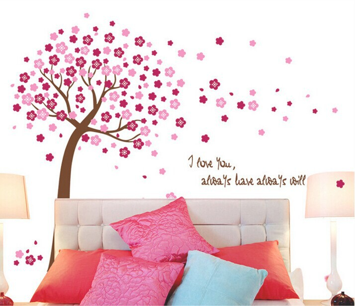 In Stock PVC Wall Stickers Cartoon Love Tree Kids Wall Sticker Decals Home Decor For Children adesivo de parede Home decoration(China (Mainland))