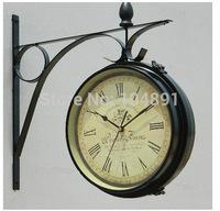 Double-faced wall clock  Iron watch wall for home decoration modern art wall clocks home clock wall vinatage digital wall clock