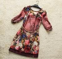 Europe Fashion Clothes Noble Quality Athena Beading Vintage  O-Neck   Print Dress full  sleevenew women104