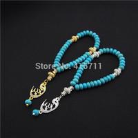 Rondelles Turquoise Crystal Islamic Muslim Prayer Beads Tasbih 33beads Allah Misbaha Sibha L150113005