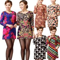 Casual Dress Vestidos 2015 Spring Women Dress O-neck Print Mini Shesth Long Sleeve Dress Plus Size Short Vintage Dress OL Dress