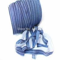 "DHL Free shipping""  5/8''   200 yards glitter denim elastic , Fold over elastic for baby  headband"