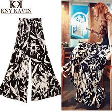Moda 2015 Spring Summer Women's Fashion Pants Cargo Elastic High Waist Loose Cotton Trousers Wide Leg Pants Skirte Printed WP421(China (Mainland))