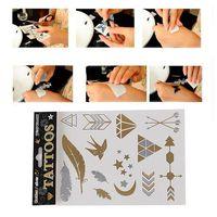 Hot Sale Unisex Metallic Removable Leaf+Swallow+Star+Moon Temporary Tattoo Stickers Body Art Waterproof Tattoon 65382