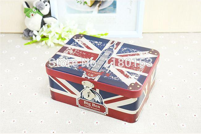 free shipping 16.8*12.8*7.3cm zakka British flag tin lock storage box, large collection box(China (Mainland))