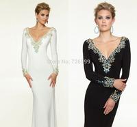 HYL New Elegant White/Black Sheath Chiffon Prom Dresses Beads Long Sleeve V-Neck Deep V Back Pageant Evening Dresses Custom Size