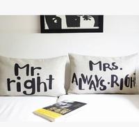 IKEA Scandinavian minimalist wedding couple Mr & Mrs cotton pillow pillow cushion lumbar pillow car pillow wedding gift