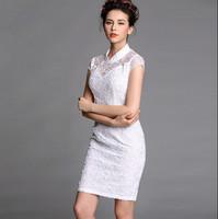 Free Shipping 2015 Summer fashion elegant flowers white formal dress, short-sleeve lace women's one-piece dress S M L XL