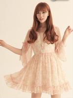 summer 9172 new Slim Waist Ladies Imitation silk Floral Dress 2015