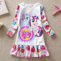 Free shipping 5pcs/lot girls dress my little poney dress girls spring long sleeve cartoon dress European American dress