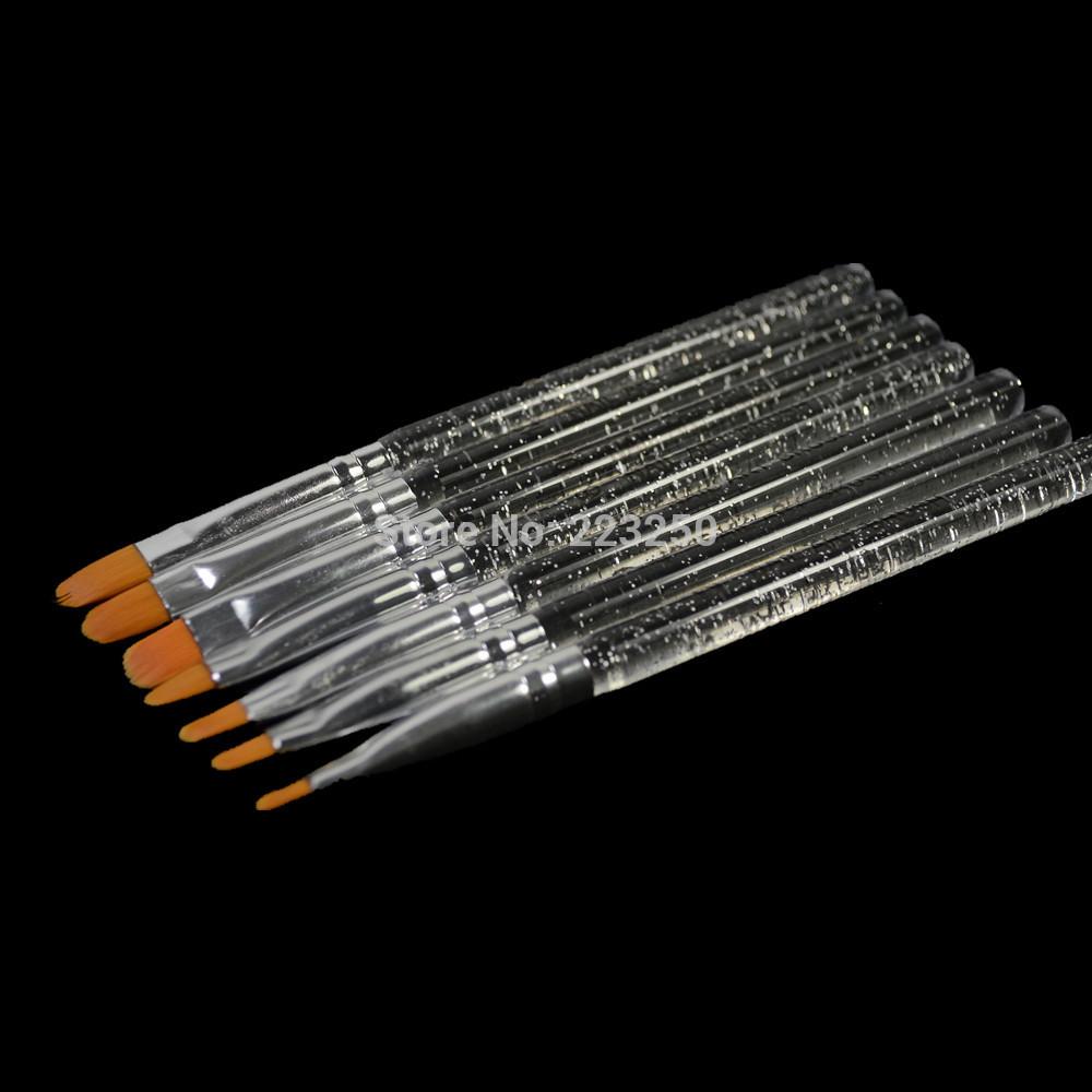 7pcs Profession Practice DIY Polish Manicure Tools Nail Art Brush Sets Kit 7 Size Acrylic UV Gel Tips Nails Care Pen NAO26(China (Mainland))