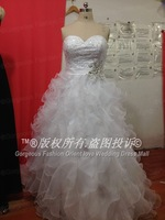 Free shipping Sweetheart white Beading Organza Cascading Ruffles Lace up Fashion Wedding Gowns Bridal dresses Wedding Dresses