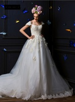 Strapless lace with long trailing his shoulders wedding dress wj072