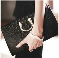 2015 Euro Fashion Genuine Leather Crocodile Pattern Messenger Bag  Women Day Clutches Lady Evening bag