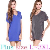Latest 2015 European Basic Fashion Style Cotton Dress L-3XL PLUS SIZE/Shirt/Blouse/One-piece Dress/Top
