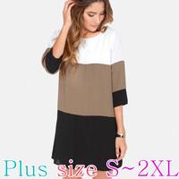 Latest 2015 European Style Basic Fashion Cotton Dress/Shirt/Blouse/One-piece Dress/Top