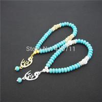 Turquoise Rondelles  Islamic Muslim Prayer Beads Tasbih 33beads Allah Misbaha Sibha   L150113020