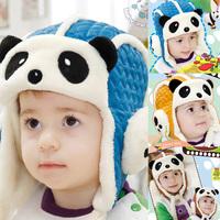 UK Cute Kids Boys Girls Cashmere Ear Flap Hats Panda Caps Warm Ski Beanie Hats Freeshipping
