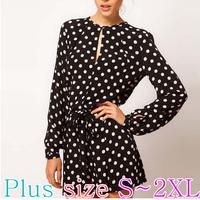 Latest 2015 European Cute Style Women's Fashion Dot Pattern Cotton Dress/Shirt/Blouse/One-piece Dress/Top