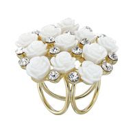 Bouquet Flower Rose Scarf Rings and Slide Silk Scarf Buckle Holder 18K Gold Plated Wholesale Fashion Scarf Ring