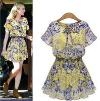 2015 Spring fashion women chiffon printing casual a-line dress lady's o-neck short sleeve mini dress plus size free shipping
