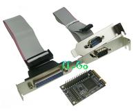 Free shipping Mini-PCIe to 2 Serial + 1 Parallel port Controller Card rs232 + printer port mini pci-e + low profile bracket