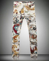 Chinese Wind Printing Trend Men's Slim Jeans Fashion Casual Denim Trousers /Size:28-36 Free Shipping