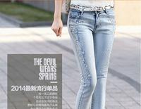 2015  new Korean female beading Rhinestone light-colored jeans Slim pencil pants