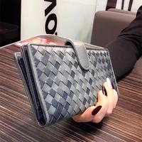 2015 Fashion Long Design Sheepskin Leather Kintted Purse Muiltfunction Women Wallets Clutch