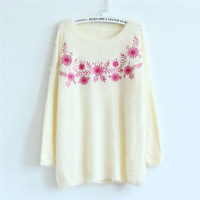 Women's New Mohair Sweater Autumn / Winter 2014 National Embroidery Flower Knit Pullovers Tops Ladies Thick Sweaters