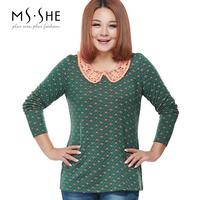 Msshe plus size clothing 2014 mm stretch cotton jacquard lace cutout basic t-shirt 2389
