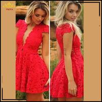 2015 High Quality Women Red Lace Dress Plus Size Sexy Dress Deep V-Neck Summer Dresses Vestido De Renda Clothing Free Shipping