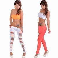 Euramerican Candy Colors Seamless Leggings Solid Cotton Hollow Out Unique High Elasticity Creative Trends Silm Trousers Fashions