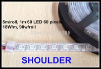IP68 Dc 5v 5m/roll white Pcb 60 pcs programmable ws2811 IC Built-in 5050 SMD Rgb Led Digital WS2812 led Strip light