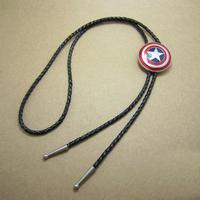 Movie Theme European and American Style Captain America Shield Men Bolo Tie Zinc Alloy Leather Strap Fashion Bow Tie