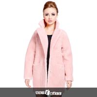 2015 free shipping women natural lamb fur coat double face fur garment winter women fur coat pocket turn down collar new arrival
