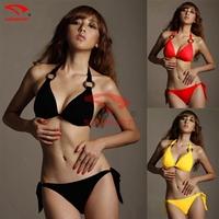 High Quality 2015 Sexy women Push-Up Padded Bra Bikini Sets, Ladies/ Grils Solid Color Swimsuit Bath Suit Swimwear DM006