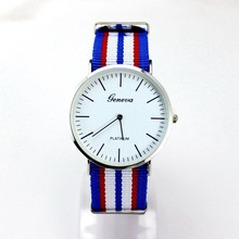 Luxury women dress Watch Multicolor Stripe Nylon Fabric Canvas Sports men Watch Super Thin Platimum Case Geneva Wristatch hours