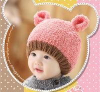 High Quality  Fashion Warm Bear Cap Winter Animal Hats For Baby Earflaps Crochet Knitted little Boy Girl Beanie Children Hat