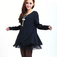 Women Casual Loose Bow Tie Ruffle Top Scoop Neck Long Sleeve Day Shift Sweatershirt