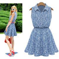 summer dress 2015 European women's new vestido cotton Collect  waist dress small fresh floral print sleeveless casual dress