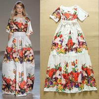 One-Piece Dress!Freeship New European Style Fashion 2015 Spring Women Bohemian Print Slim Fit Casual Beach Long Dress Maxi