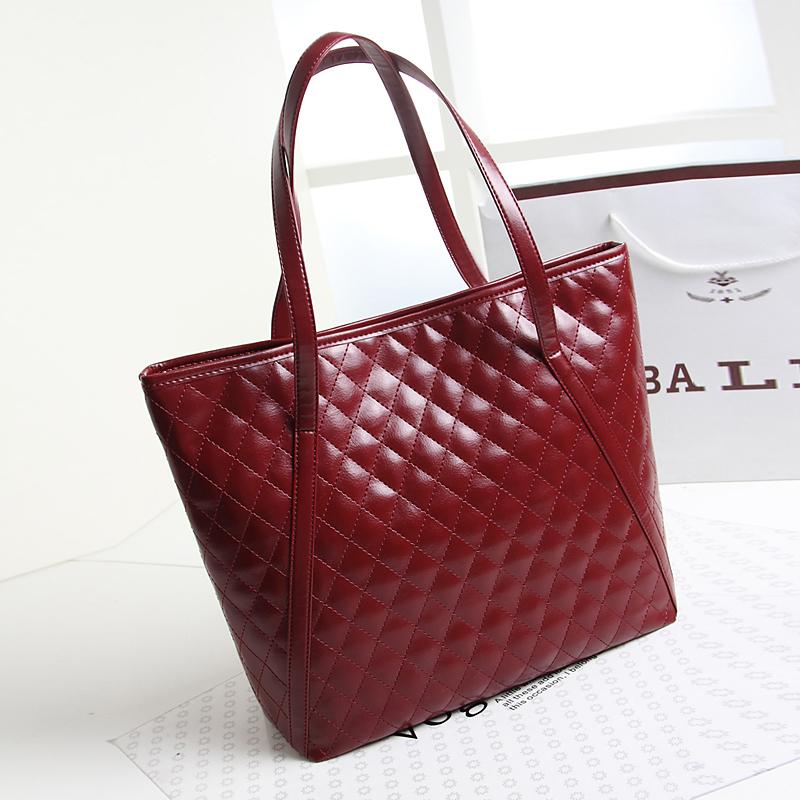 2015 New Design Cheap Women handbag Wine red Female Bags Lady PU Leather Shoulder Bag elegant girls Big Shoulder Bag(China (Mainland))
