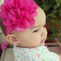 Baby pink Soft Eyelet Newborn Large Hollow Flower Headband Wholesale