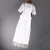 2014 news high quality  Short-sleeved dress stitching lace fringed dress women dress