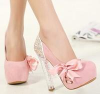 girls bowtie glitter sexy crystal high heels spring autumn platform women shoes 2015 pumps ladies wedding shoes woman GD150168