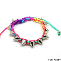 Handmade fluorescent CCB clinch woven Multicolour Lovely Bracelet wholesale for female