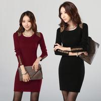 Hot Sale!! Women Winter Dress 2015 New Fashion Pure Color Casual Dress Long Sleeve Autumn Dresses 3XL Vestidos